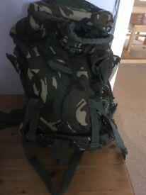 Camouflaged rucksack.