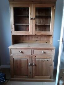 Solid Pine dresser with glass door cabinet