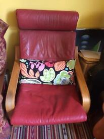 Genuine Vintage RED LEATHER POANG Chair 70s/80s
