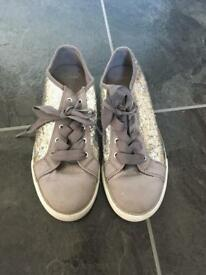 Clark's Girls Silver Trainers Size 2 and a half