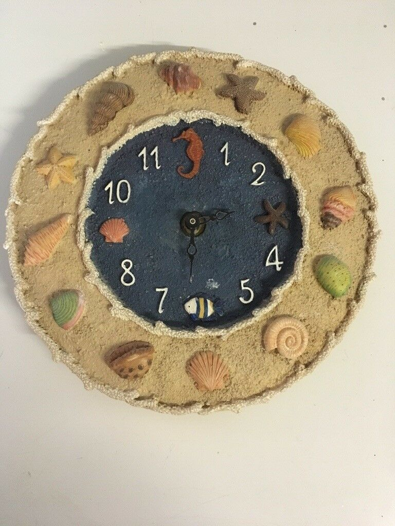 Sea shell beach theme wall clock in great condition drayton in sea shell beach theme wall clock in great condition drayton amipublicfo Images