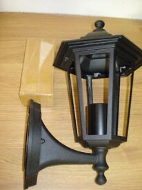 3 x 6 Glass Sided Outdoor Coach Lantern Wall Lights, in Black, Brand New in boxes.