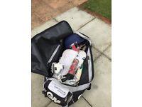 Cricket equipment- stumps, bats, pads, gloves, bag, helmet, balls, collection only