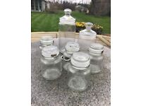 7 glass sweetie / storage jars / wedding sweet jars