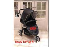 Rand new Hauck lift up 3 sporty lightweight easy to fold pram pushchair black unisex 3 wheeler