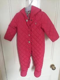 Joules baby snowsuit in pink (6-9 months)