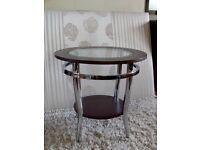 Stylish side/lamp table, dark wood/glass/chrome, hardly used, ex Harveys
