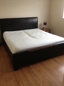 Faux leather Superking 6 foot bed and mattresses