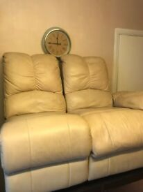 2 seater reclining/recliner cream sofa