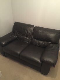 Black leather 2 seater couch/sofa