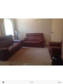 Italian brown/burgundy leather recline 3 seat sofa, 2 seater settee, 1 electric reclining armchair
