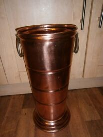 VINTAGE FRENCH COPPER HANDMADE CHUNKY SHABBY CHIC UMBRELLA STAND