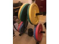 Olympic weights rubber coated steels including weights tri