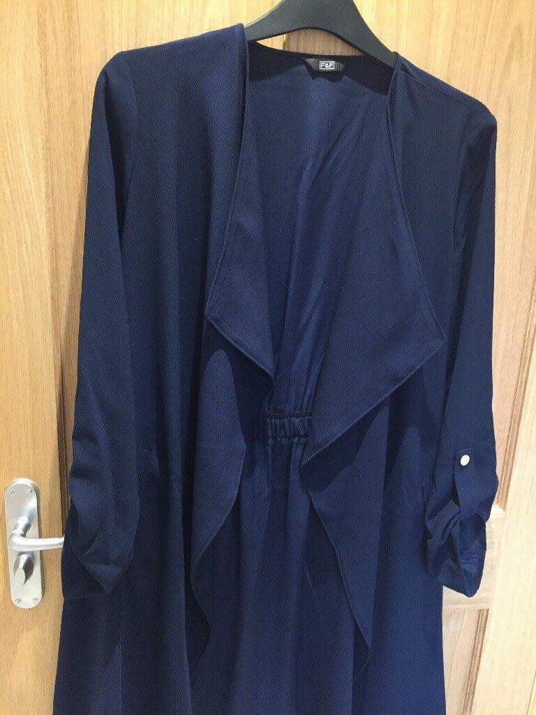 Ladies navy 3/4 length jacket