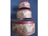 Set of three Christmas design cake/storage tins