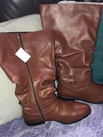 NWT tan knee high boots