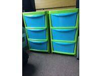 2 x 3 drawer storage units for kids bedroom, garage, kitchen etc