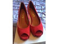 Office Red Suede Kitten Heels