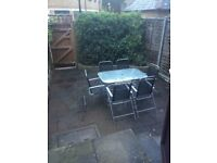 GARDEN TABLE AND 6 CHAIRS+ UMBRELLA ONLY£50. Available until 24th SEPT
