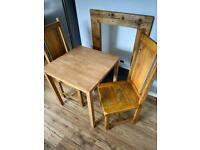 Wood dining table and 2 chairs