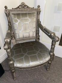 Two royal silver grey chairs