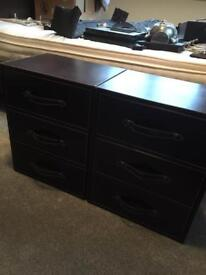 X2 MATCHING 3 DRAWER BROWN FAUX LEATHER DRAWERS
