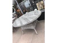 Large Rattan Grey Table With Glass Top