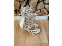 Chic Cream Ankle Cage Heels-4 BN