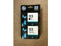 Brand new in box HP ink 123 cartridges colour and black