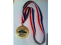 47 event medals with ribbon attached for sale