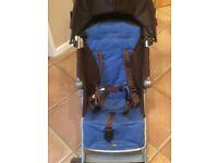 Maclaren quest chocolate brown and blue boys stroller buggy pushchair perfect for holidays
