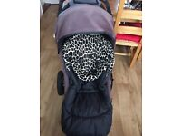 Double pushchair with two cosy toes and rain cover. very easy to use and not to big and bulky