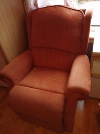 Fabric 3 seater and a recliner arm chair