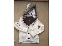 Womens Thick Fur Lined Hooded Button Up Hoodie
