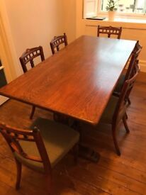 Genuine Antique Refectory Table with 6 Victorian Inlaid Dining Chairs