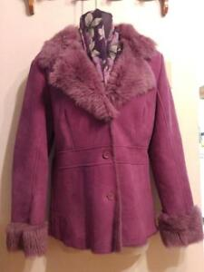 NEW L XL 14 16 DANIER LEATHER 100% Shearling Jacket Fuscia Lovely Warm Coat & Free Matching Scarf
