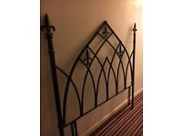 Black metal headboard for double bed