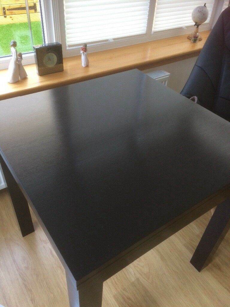 Black extendable dining table 80x80 extends to 160cm brand new condition too