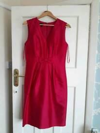 Hobbs dress worn twice. Very flattering. Size 12. Bright pink shimmer. 40% silk