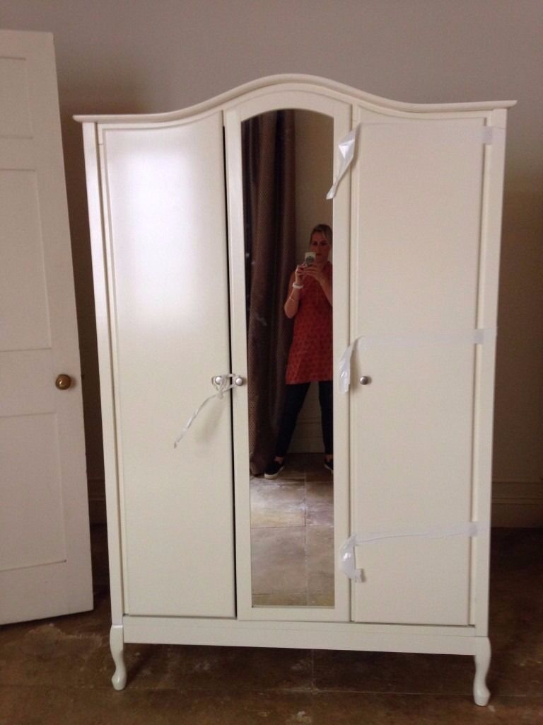 3 Door Mirrored French Armoire Wardrobe Vintage Style Ivory