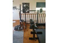 GYM EQUIPMENT. SET OF WEIGHTS, BENCH BAR
