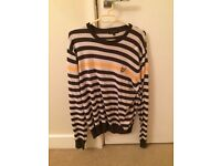 Men's Lyle and Scott Brown and Orange striped jumper size XL, in excellent condition as hardly worn