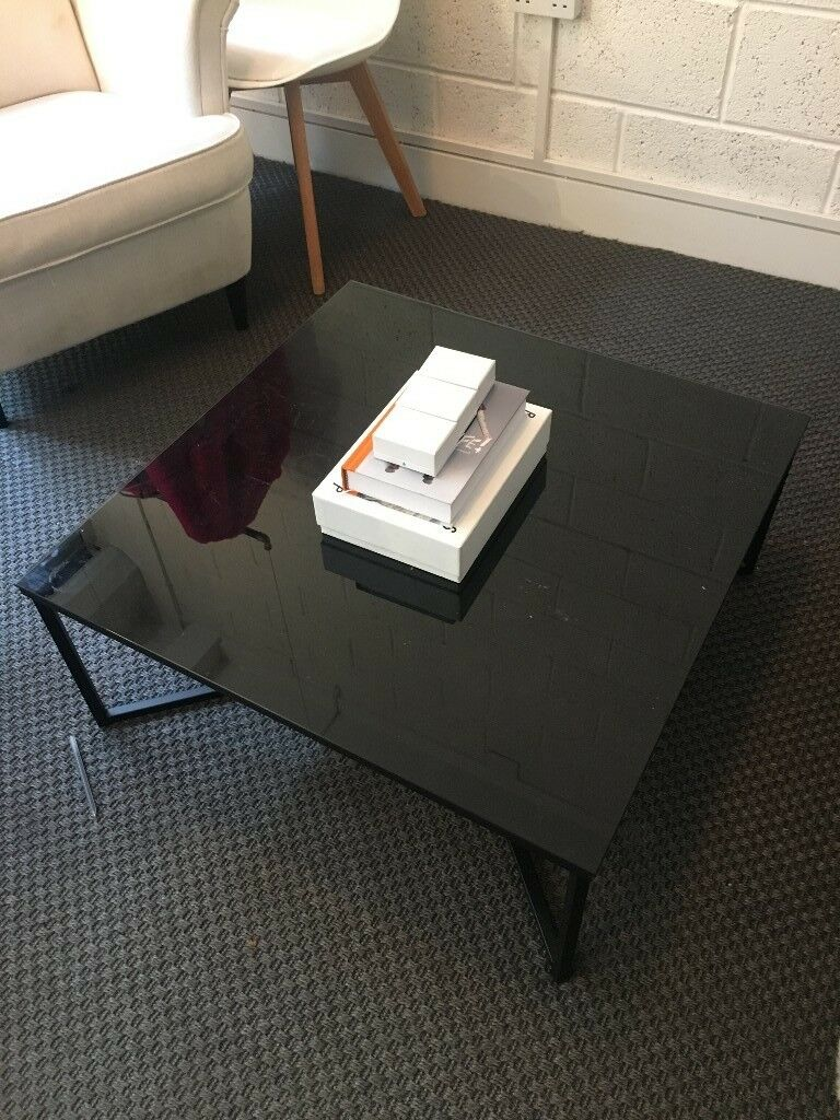 Square Black Glass Top Low Coffee Table