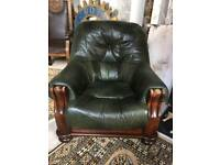 X2 green leather chairs