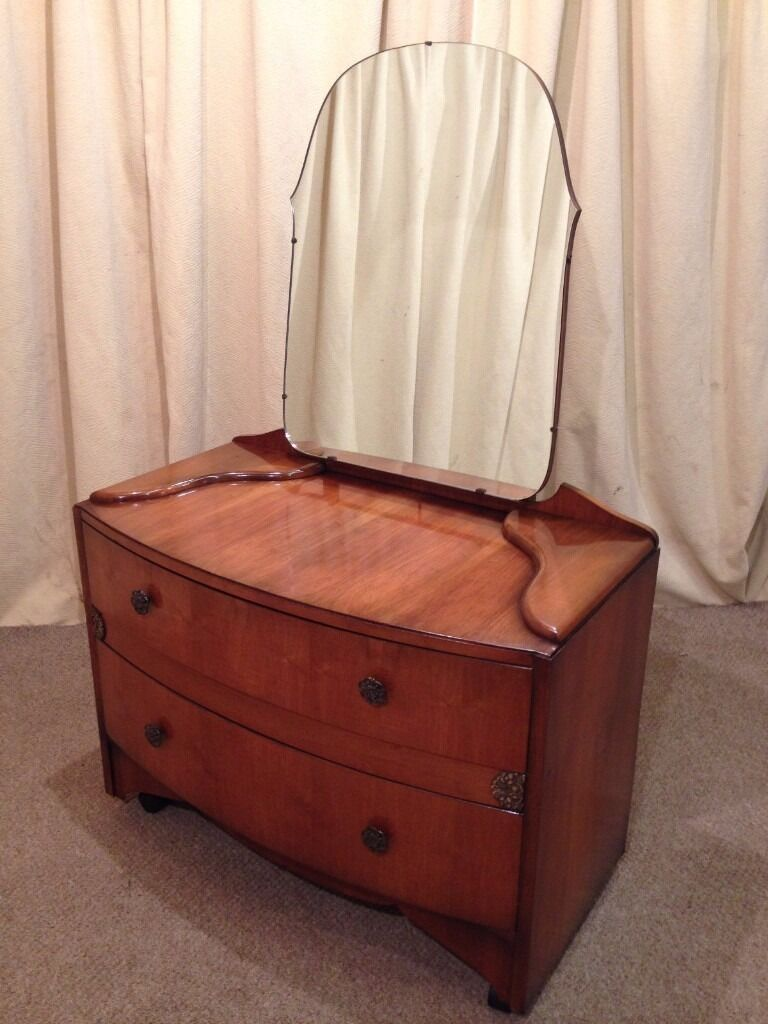 Antique mirrored dressing table - Antique 1930 S 1940 S Art Deco Walnut Mirror Back Dressing Table Retro Vintage