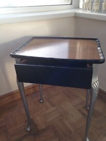 """Small table with drawer 15"""" wide x12 depth 20.5 long hand painted in black and silver"""