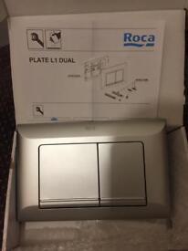 Roca grey double flush plate L1