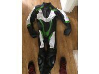 Green/black motorbike leather
