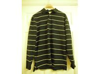 Mens Charles Tyrwhitt Rugby Style Polo Shirt Striped Black/Cream Medium Size