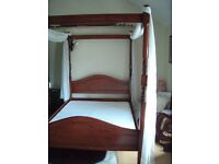 Mahogany double 4 poster bed frame with drapes